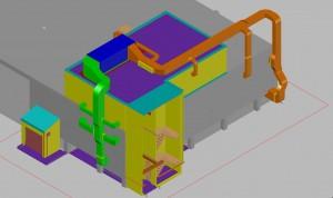 CAD model 3D aanzicht kanaal + gebouw